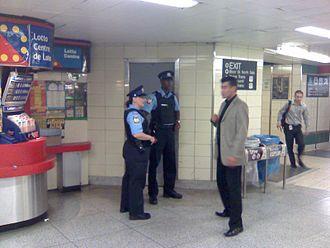 Transit Enforcement Unit - TTC Constables in Bloor station.