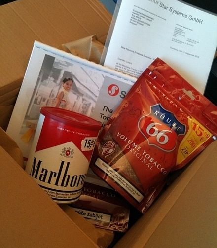 Box offered by tobacco lobbyists to Dutch Member of the European Parliament Kartika Liotard in September 2013 Tabakslobby.jpg