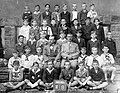 Tableau, class photo, men, teacher, yard, label Fortepan 13093.jpg