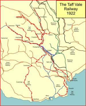 Taff Vale Railway - The Taff Vale Railway system in 1922