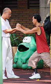 A tai chi chuan teacher corrects his student's...