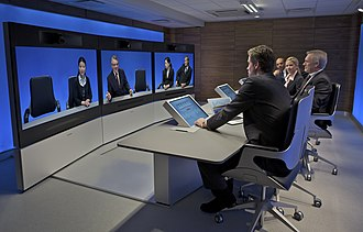 History of videotelephony - A Tandberg T3 high definition telepresence room in use some 40 years after the introduction of AT&T's black and white Picturephone (2008)