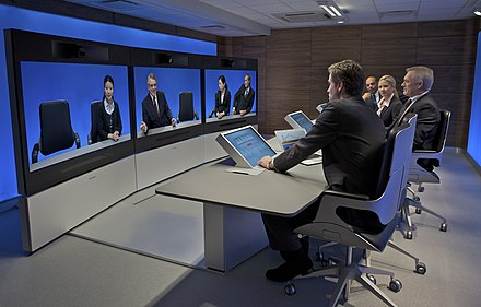 A Tandberg T3 high resolution telepresence room in use (2008). Tandberg Image Gallery - telepresence-t3-side-view-hires.jpg
