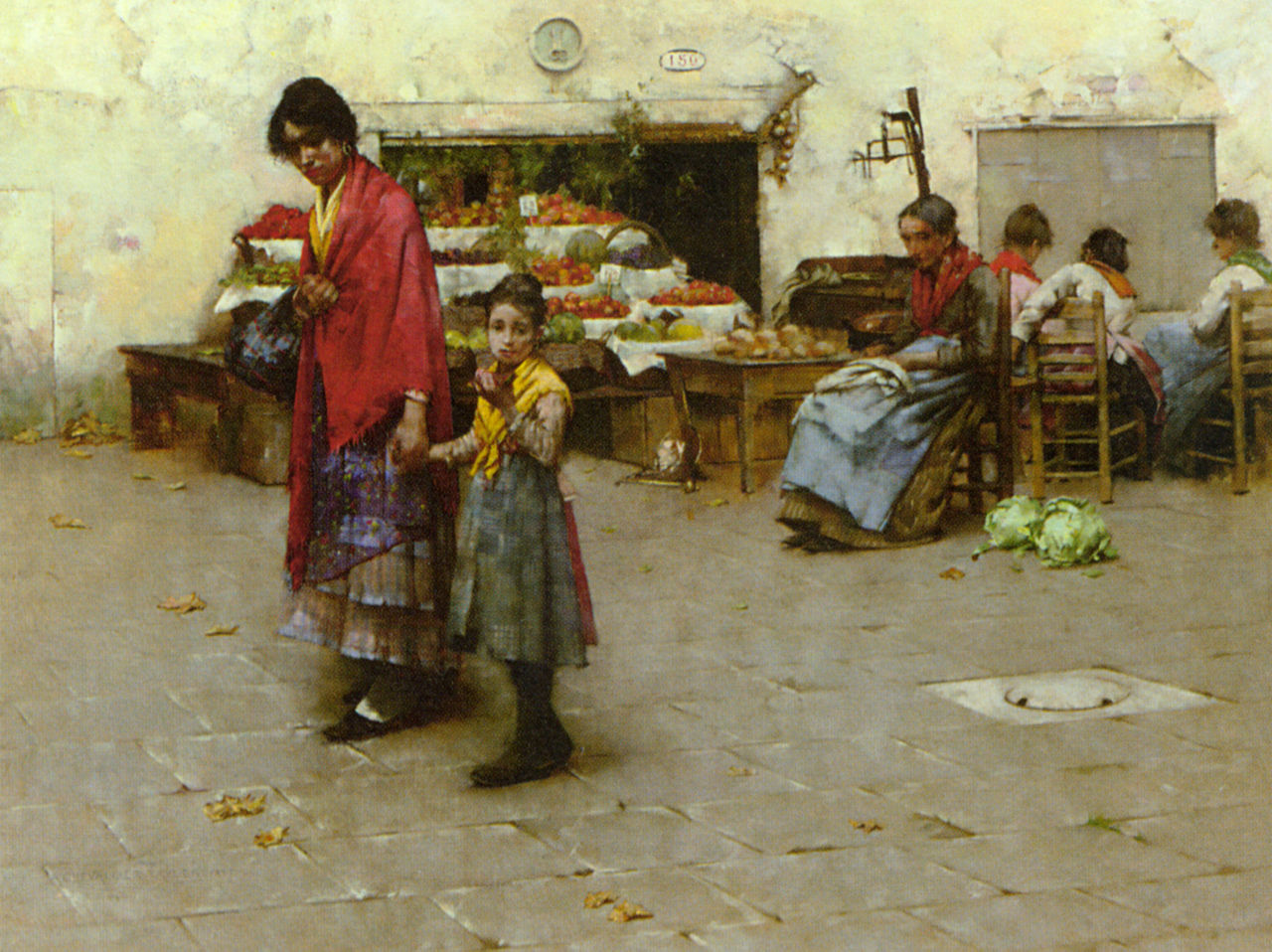 Taylor Albert Chevallier A Day at the Market 1887 Oil On Canvas.jpg