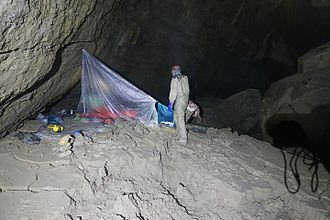 Tears of the Turtle Cave - Camp near the known bottom of the cave