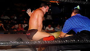 A dark-haired young man in a wrestling ring with black ropes. He is wearing black wrestling tights, with the name DiBiase written on them in red letters, and red kneepads with black wrestling boots. A referee wearing a blue shirt with thin black vertical stripes is in the corner.