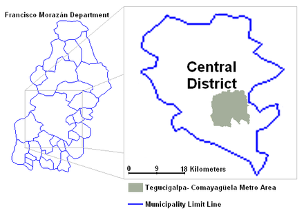 Despite the Central District's significant size, the urban area of Tegucigalpa-Comayaguela of 1.2 million is compacted in a small area. Tegucigalpa Metro Area 2.png