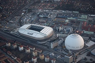 Ericsson Globe - Aerial view of Tele2 Arena and Ericsson Globe, April 2018.