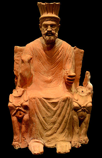 Baal Hammon - Statue of Baʿal Hammon on his throne with a crown and flanked by sphinxes, 1st century.