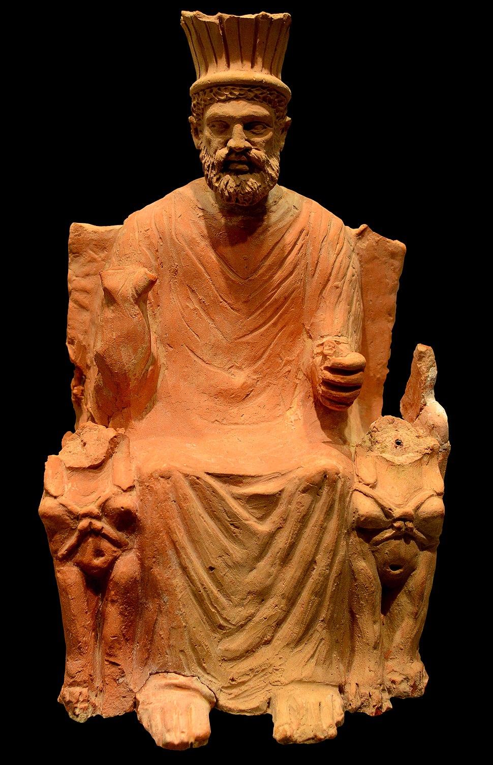 Terracotta statue of Baal-Hammon on a throne AvL