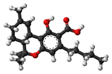 Ball-and-stick model of the tetrahydrocannabinolic molecule