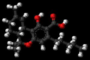 Tetrahydrocannabinolic acid - Image: Tetrahydrocannabinol ic acid molecule ball