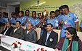 Thaawar Chand Gehlot and the Minister of State for Youth Affairs and Sports (Independent Charge), Shri Sarbananda Sonowal with the Indian Blind Cricket Team on winning the Blind Cricket World Cup, 2014 in South Africa.jpg