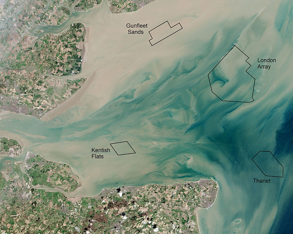 Thames Estuary and Wind Farms from Space NASA with annotations