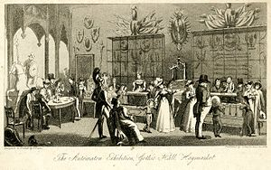 Maillardet's automaton - The Automaton Exhibition at Gothic Hall in 1826. The Juvenile Artist was at the right.