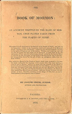 Standard works - Cover page of The Book of Mormon from an original 1830 edition, by Joseph Smith (Image from the U.S. Library of Congress Rare Book and Special Collections Division.)