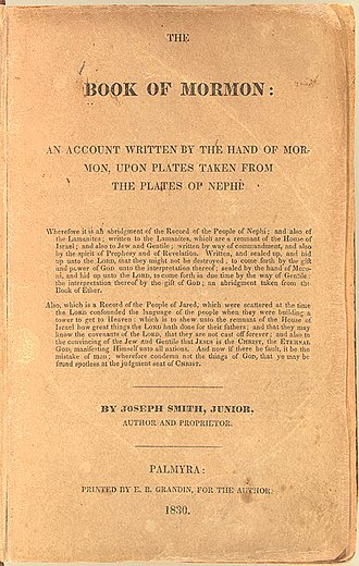 Book of Mormon - Cover page of The Book of Mormon from an original 1830 edition, by Joseph Smith (Image from the U.S. Library of Congress Rare Book and Special Collections Division.)