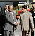 The Chief Advisor of Bangladesh, Dr. Fakhruddin Ahmed being received by the Union Minister for Information & Broadcasting and Parliamentary Affairs, Shri Priyaranjan Dasmunsi, on his arrival in New Delhi on April 2, 2007.jpg