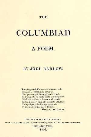 The Columbiad - First edition title page, 1807