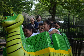Ride Entertainment Group - The Corona Cobra Roller Coaster at Fantasy Forest Amusement Park in Flushing, Queens, New York.