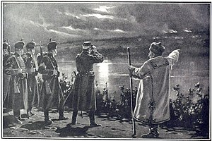 Zamfir Arbore - Romanian border troops survey the eastern Prut shore, where Bessarabian villages had caught on fire (The Illustrated London News, January 1906)