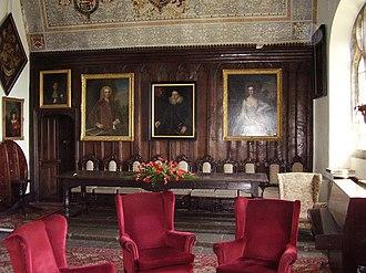 Mostyn baronets - Gloddaeth Hall, Conwy: the hall, with Mostyn family portraits