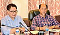 The Minister of State for Home Affairs, Shri Kiren Rijiju and the Chief Minister of Nagaland, Shri Neiphiu Rio at a high-level meeting, to review the flood landslide situation in the state, in Dimapur, Nagaland.JPG