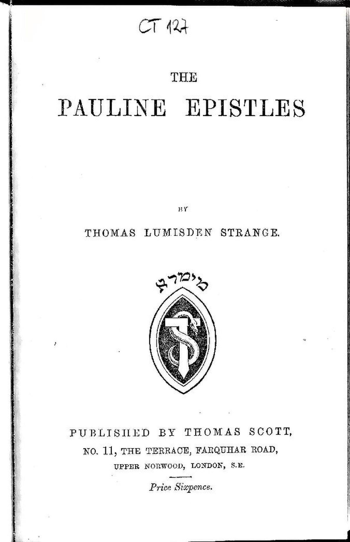 Pauline epistles in order