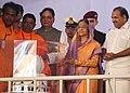 The President, Smt. Pratibha Devisingh Patil receives a memento at the inauguration of the Dedication Ceremony of Parnasala, at Santhigiri Ashram, Kerala on August 13, 2010.jpg