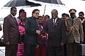 The President of the Republic of Namibia, Mr. Hifikepunye Pohamba being received by the Minister of State of External Affairs, Shri Shashi Tharoor, on his arrival at Air Force Station Palam, in New Delhi on August 30, 2009.jpg