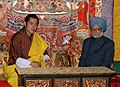The Prime Minister, Dr. Manmohan Singh meeting with the King of Bhutan, H.M. Jigme Khesar Namgyel Wangchuck, at Bhutan on May 16, 2008 (1).jpg