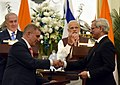 The Prime Minister, Shri Narendra Modi and the Prime Minister of Israel, Mr. Benjamin Netanyahu witnessing the Exchange of MoUsAgreements between India and Israel, at Hyderabad House, in New Delhi on January 15, 2018 (1).jpg