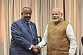 The Prime Minister, Shri Narendra Modi meeting the President of Djibouti, Mr. Ismail Omar Guelleh, on the sidelines of the International Solar Alliance (ISA) Summit, in New Delhi on March 11, 2018 (1).jpg