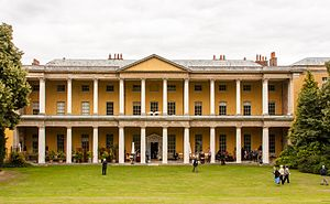 West Wycombe Park - The double, superimposed colonnade on the south front of West Wycombe. It has a Tuscan order ground floor and Corinthian upper floor with a central projecting pediment, very unusual in English architecture. (Marked M on plan below)