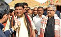 The Union Minister for Tribal Affairs, Shri Jual Oram briefing the media after inaugurating the National Tribal Festival- 2015 VANAJ, in New Delhi on February 14, 2015.jpg