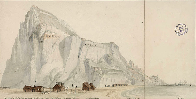 File:The rock of Gibraltar shewing the galleries from the isthmus or neutral grounds.jpg