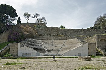 English: The ancient (restored) theatre in Rho...