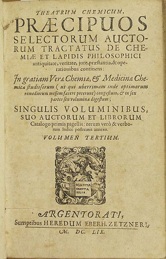 Theatrum Chemicum - Page One of Theatrum Chemicum Volume III.  Originally published 1602, Strasbourg by Lazarus Zetzner.