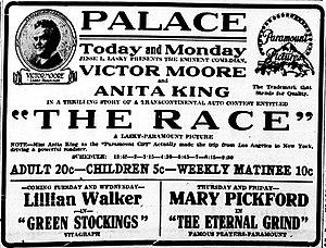 The Race (1916 film) - Newspaper advertisement