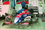 Thierry Boutsen`s Jordan 193 in the pit garage at the 1993 British Grand Prix (32873429303).jpg