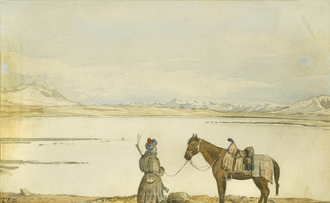 19th-century painting of lake Zorkul and a local Tajik inhabitant Thomas Edward Gordon Lake Victoria, Great Pamir, May 2nd, 1874.png