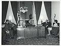 Thomas P. O'Neill, Carl Albert, and President Josip B. Tito of Yugoslavia with others sitting in Albert's office. November 1971.jpg