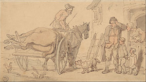 "Knacker - ""A Dead Horse on a Knacker's Cart"", drawing by Thomas Rowlandson (1756–1827)."
