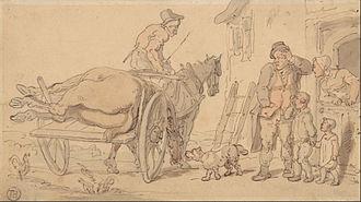 "Knacker - ""A Dead Horse on a Knacker's Cart"", drawing by Thomas Rowlandson (1756–1827)."