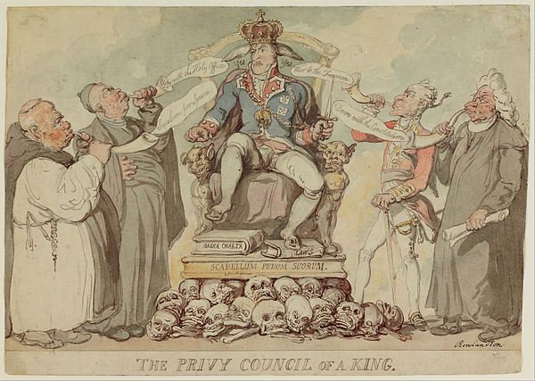 Privy Council of a King by Thomas Rowlandson. 1815 Thomas Rowlandson - The Privy Council of a King - Google Art Project.jpg