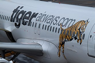 A Tiger Airways Australia Airbus A320 fuselage in 2009 Tiger Airways Australia Logo.jpg