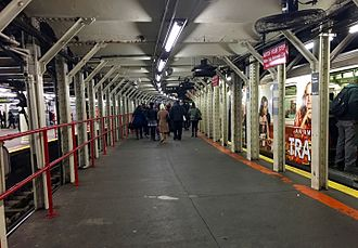 Times Square–42nd Street/Port Authority Bus Terminal (New York City Subway) - Platform for track 3, with a train on that track