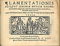Title page of Jean de Latre's 'Lamentationes aliquot Ieremiae', volume for tenor (1554).jpeg