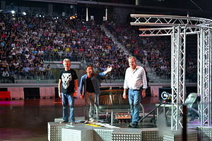 Richard Hammond - Hammond with James May and Jeremy Clarkson at Top Gear Live Italia in 2014