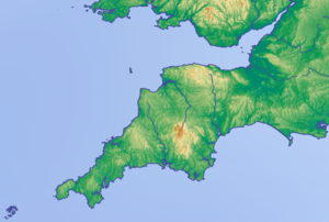 English: Topographic map of south-west England